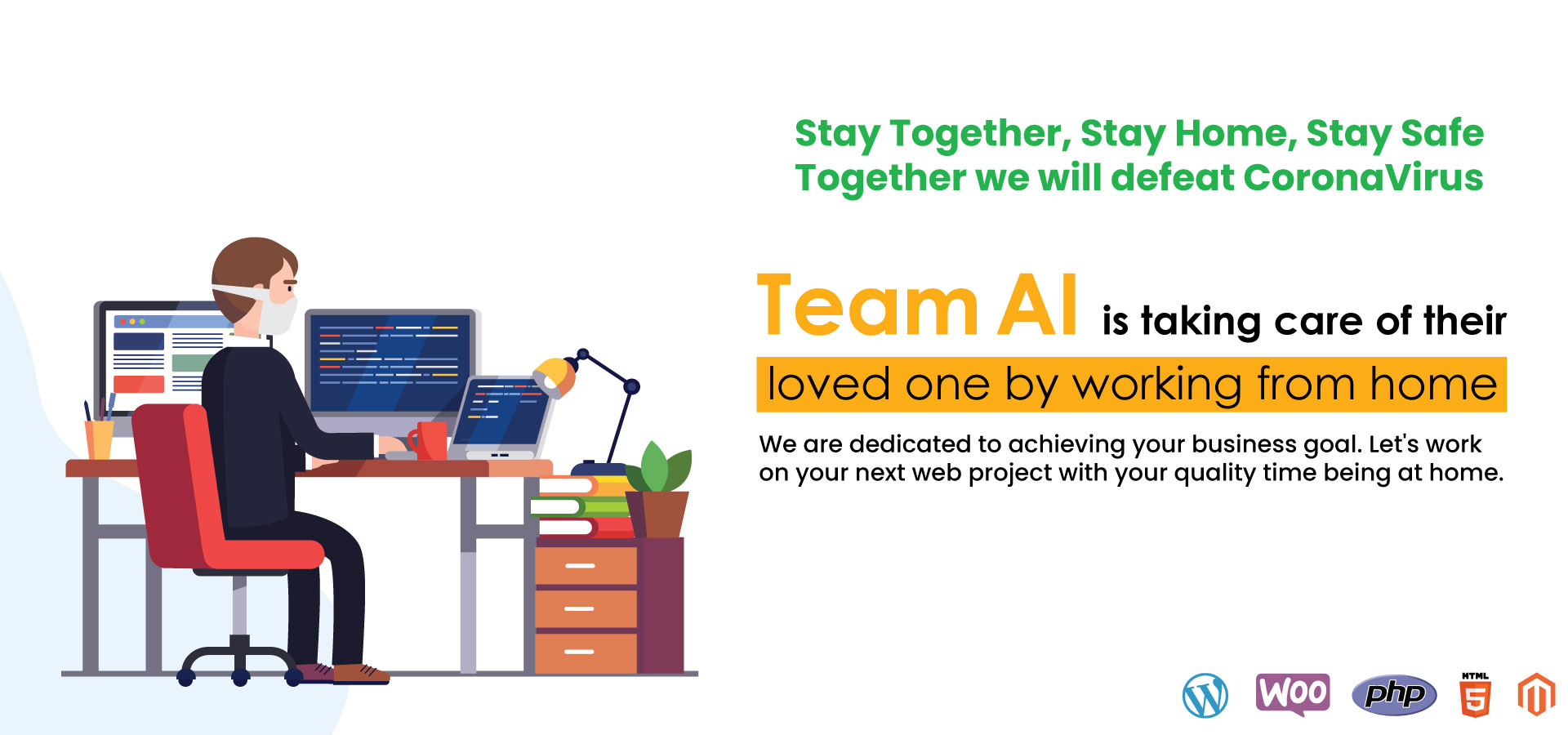 Team AI is taking care of their loved one by working from home